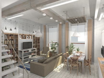 Дизайн-проект гостиной в стиле LOFT